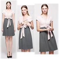 V-neck Dress Nursing Breastfeeding Color-Block Waist Tie Slim 6 8 10 12 14 16