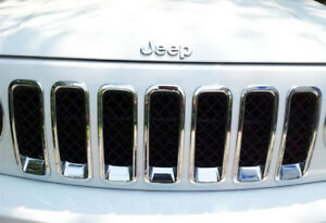 Chrome Front Grille Mesh Grill Garnish Cover Surrounding for Jeep Patriot 12-17