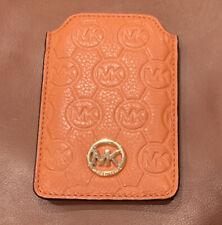 Beautiful Michael Kors Orange Leather Card Case Sleeve Gold