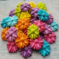 30 EDIBLE SUGAR PASTE FONDANT FLOWERS DAISIES CAKE TOPPERS DECORATIONS RAINBOW