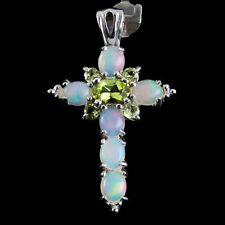 100% NATURAL 7X5MM PERIDOT ETHIOPIAN WELO OPAL CROSS DESIGN SILVER 925 PENDANT