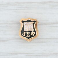 Alpha Sigma Phi Badge 14k Gold Enamel Vintage Fraternity Mini Pin Greek Society