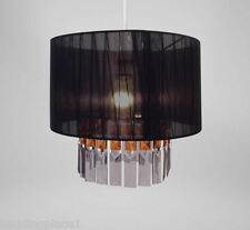 Ribbon and Gems Chandelier Light Shade Hanging Pendant Two Tiered Black