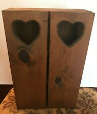 Wooden 3 Shelf Bookcase with Cut out Hearts on Doors