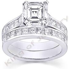 2.71 Ct. Asscher Cut Diamond Engagement Bridal Set Channel Set Princess cut Band