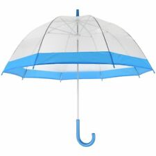 See Through Clear Dome Bubble Umbrella With BLUE Trim & Handle NEW