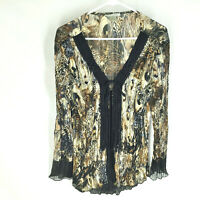 Alberto Makali Blouse Top Size Medium Sheer Embellished Long Sleeve Womens