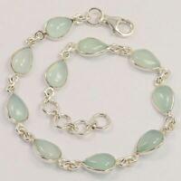 925 Sterling Silver Delicate Bracelet Natural AQUA CHALCEDONY Cabochon Gemstones