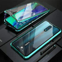 Metal 2 Glass Magnetic 360 Phone Case Cover for Oppo Reno2 Z A9 2020 Realme 5 6