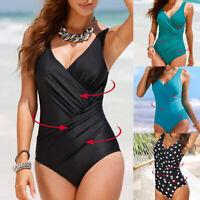 Plus Size Women Vintage Monokini One Piece Swimsuit Swimwear Bathing Suit bikini
