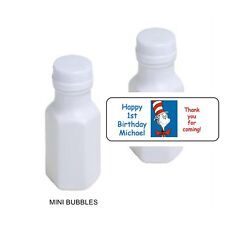 Personalized Stickers Labels for Mini Bubbles Favors Dr. Seuss Cat in the Hat