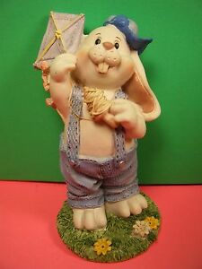 "EASTER RABBIT Bunny Boy Kite Overalls Ball Cap Blue Flower Garden 4.75"" VINTAGE"