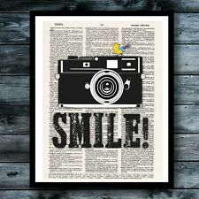 Smile Camera Photography Dictionary Art Print Cool Vintage Poster Modern Decor