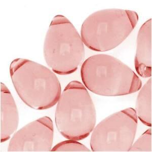 Czech Glass 9mm Teardrops Medium Rose Pink (50 Beads)