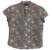 Liz Jordan Brown Floral Short Sleeve Button Up Shirt Blouse Size 10