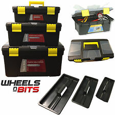 NEW 3 Plastic Tool Boxes Set Handle Tray & Compartment Diy Storage Toolbox Bag