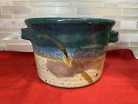 Vintage Stoneware Studio Art Pottery Brown Bowl with Handles; Cache Pot  7in