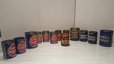 Vintage Coffee Tin Chase & Sanborn Empty Maxwell House, Brim, Folgers Lot of 13