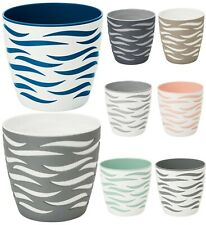 More details for plant pots sahara duo modern large small medium round decorative plastic holder
