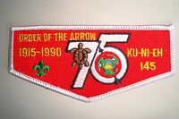 OA KU-NI-EH LODGE 145 DAN BEARD COUNCIL PATCH TURTLE 1990 75TH ANN FLAP