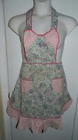 Vintage Mid Century Sweetheart Pink Green Floral Cotton Blend Apron