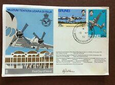 b1u ephemera stamped franked envelope brunei 1972 raf flown cover fdc