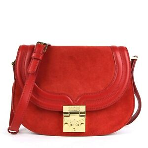 New MCM Red Suede/Leather TRISHA Crossbody Messenger Bag MWS8STS94RE001