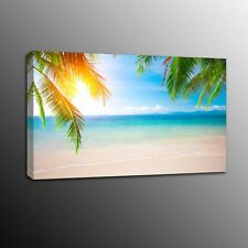 Palm Coconut Trees and Beach Photo Prints Canvas Painting Picture-No Frame