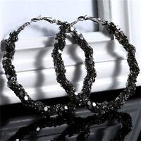 Black Bling Big Large Circle Loop Hoop Round Earring Woman Charm Jewelry Z