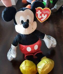 Mickey  Mouse TY Beanie Baby SPARKLES Disney. GOLD SPARKLES