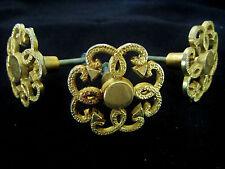3 poignées/boutons rosaces en métal doré vintage