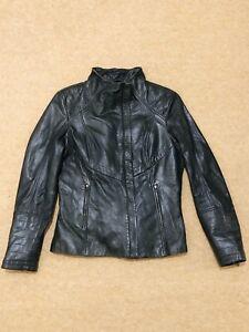 Danier Ladies Olive Green Leather Biker Jacket Size M/M UK 14 - 16, FR 42 - 44,