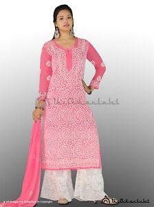 TheChikanLabel Faux Georgette Pink Chikankari Ghaas Patti Kurti Embroided Wear