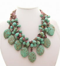 4 Strands Multi color Tourmaline Green Turquoise Fringe Necklace free shipping