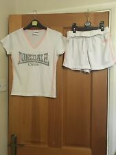 Lonsdale White Sports T-shirt/Shorts. Pink/Blue Piping, EX Condition . Size 8