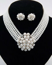 Icon Audrey Hepburn Style Glam Crystal White Pearl Costume Necklace Set