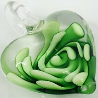 Heart Pendant Hand Blown Art Glass Green Flower Puffy 1.5""