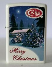 Zippo Case night house christmas trees snow merry christmass white