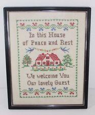 Needlepoint Sampler VTG  Framed Cross Stitch  on Linen In This House Of Peace