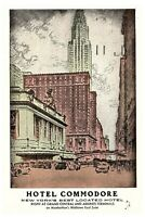 Hotel Commodore NYC Vintage Posted 1953 Grand Central Station Cancel