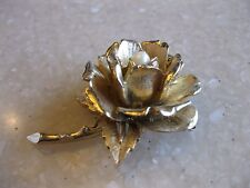 Vintage Gold Tone BOUCHER 3D Rose Floral Pin w/ Pearl Flower of Month June