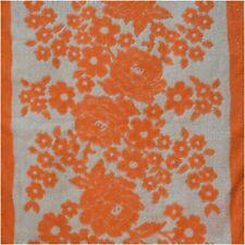 Vintage Floral Kitsch 60s 70s Bright Orange White Rose Tasselled Bathroom Towel