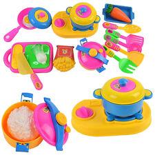 17pcs Kinder Spiel Küche Geschirr Set Korb Lebensmittel Kochen Spielzeug Zubehör