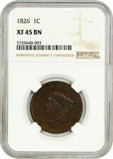 1826 1c NGC XF45 - Coronet Head Large Cents (1816-1839)