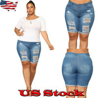 Women Shorts Denim Summer Skinny Ripped Hot Pant Beach Holiday Trousers Jeans