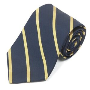 Brooks Brothers Sophisticated Midnight Blue Gold Stripe Men's Silk Neck Tie