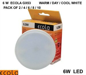 6W LED GX53 ECOLA from £2.30 each Bulb Light Lamp 2/3/4/5/6/8/10 WARM/DAY/ COOL