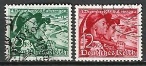 Germany (Third Reich) 1938 Used - Sudetenland Plebiscite Mi-684-685 SG-672-673