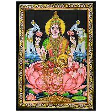 Indian Cotton Wall Art Print with Sequins - 77cm x 107cm - Laxmi