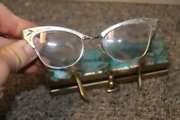 Vintage Bausch & Lomb 20-46 Aluminum Browline Rimless Cats Eye Glasses 12k GF